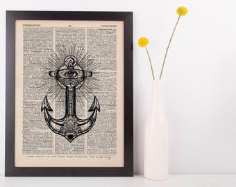 Eye Anchor Dictionary Illustration Art Print Vintage Alternative Nautical