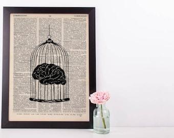 Brain Cage Anatomy Dictionary Print