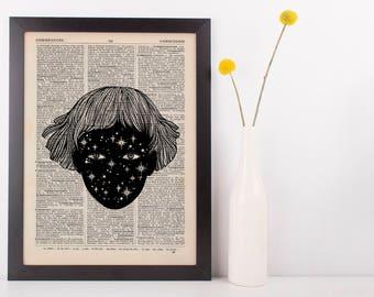 Cosmic Girl Dictionary Illustration Art Print Vintage Pot Marijuana Weed Indica