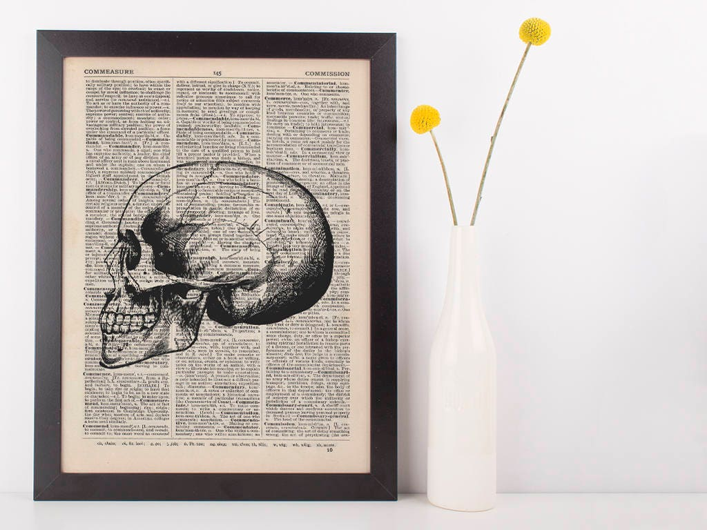 Anatomical Side Skull Dictionary Art Printmedical Anatomy Vintage