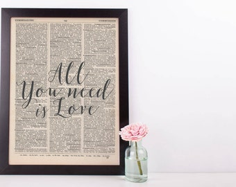 All You Need Is Love Dictionary Print