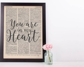 You Are In My Heart Dictionary Print