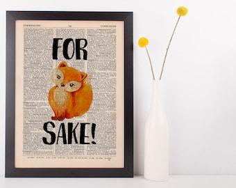 For Fox Sake Dictionary Print Art Vintage Funny Rude Swear Pun