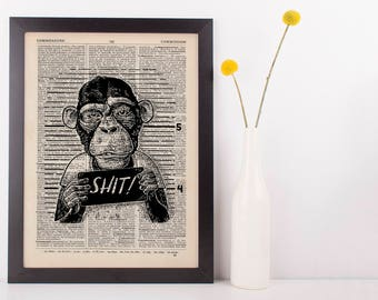 Ship Monkey Dictionary Art Print Animals Clothes Anthropomorphic Funny Rude