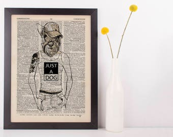 Scotty Dog Man Dictionary Art Print Animals Anthropomorphic Clothes Dresseds