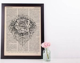 Rose Tattoo Mandala Dictionary Print
