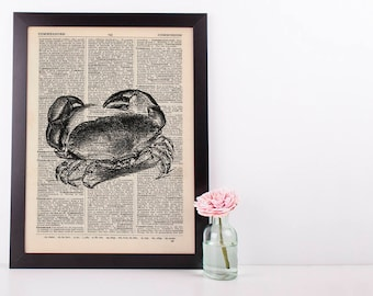 Crab 2 Dictionary Illustration Art Print Vintage Alternative Sea Life Nautical