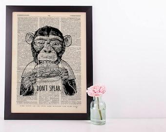 Don't Speak Monkey Dictionary Art Print Set Animals Clothes Anthropomorphic Human