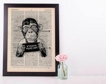 Criminal monkey Dictionary Art Print Set Animals Clothes Anthropomorphic Human