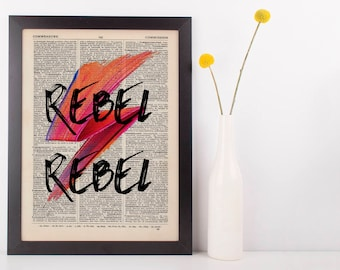 Rebel Rebel Quote Dictionary Art Print, Vintage David Bowie