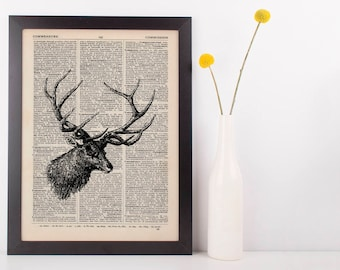 Side View Stag Dictionary Illustration Art Print Vintage Hipster Steampunk