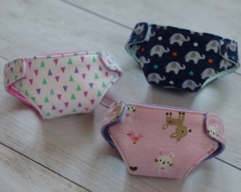 Doll Diapers - Cloth Doll Diapers - Baby Alive Diapers - Reusable diaper - Doll Underwear - American Girl - Play diapers - Doll Accessories