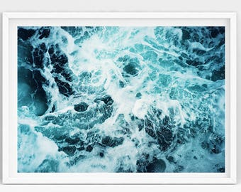 Wave Art Print, Modern Coastal, Waves Printable, Ocean Waves, Ocean Art Print, Beach Art, Ocean Water Printable Art, Beach Decor Wall Art