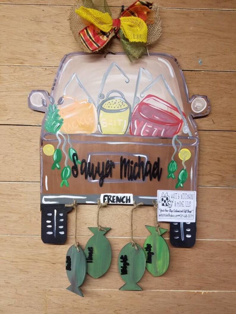 hospital door hanger fishing door hanger rustic door hanger boy door hanger fish themed door hanger Baby fishing door hanger