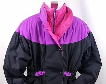 80s Ski Jacket Color Block Vintage Skyer Snowboarder Bright Colors 007095412