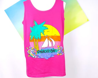 Sunset Beach Palm Trees 80s Tank Top Bright Colorful Surf Volleyball