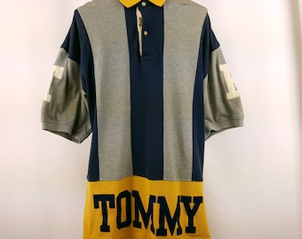 Tommy Hilfiger Polo 90s Vintage Spell Out Hip Hop Street Style Streetwear
