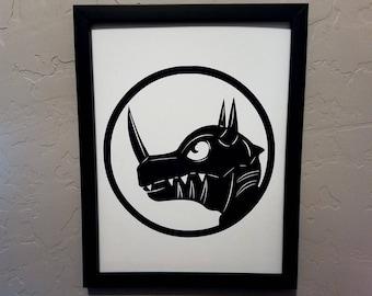Greymon (Digimon)   Papercut Silhouette