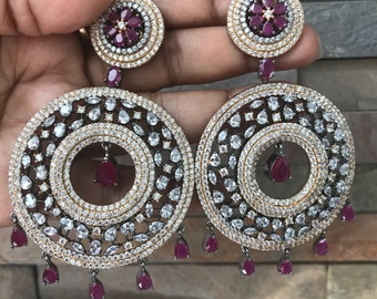 Statement Earrings With Semi Precious Stone