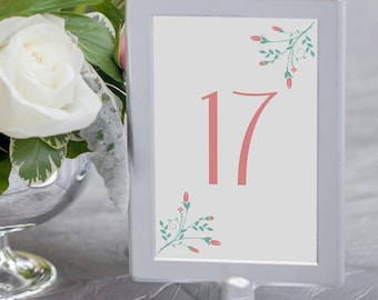 Printable Table Numbers Wedding Decorations Number Cards 4x6 Pink Wedding Table Numbers Printable 1-40 Instant Download Wedding Printables