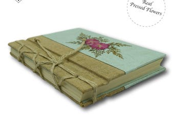 Real Pressed Flower Turquoise Journal with pink larkspur by MyPapermake