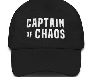 5480c229fa7 Fathers Day Gift - Father s Day Hat for Dads - Gift for Dad - Gift for  Husband - Gift for Men - Captain of Chaos - Flat Embroidered Dad Hat