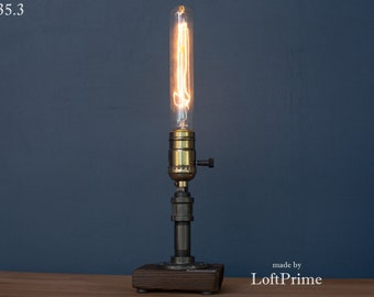 Rustic bar lighting Pipe gift Unique pipe Adison Designer foyer lamp Steampunk Barn Lamp Mechanic gifts Loft kitchen lamp