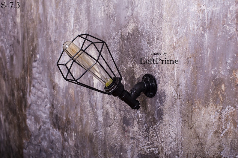 Rustic sconce Edison lamp Steampunk wall light Homeowner Gift With lampshade
