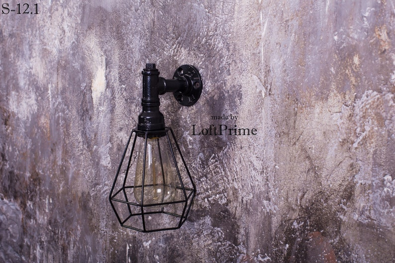 Custom lampshade Pipe light fixture Rustic sconce Employee With lampshade