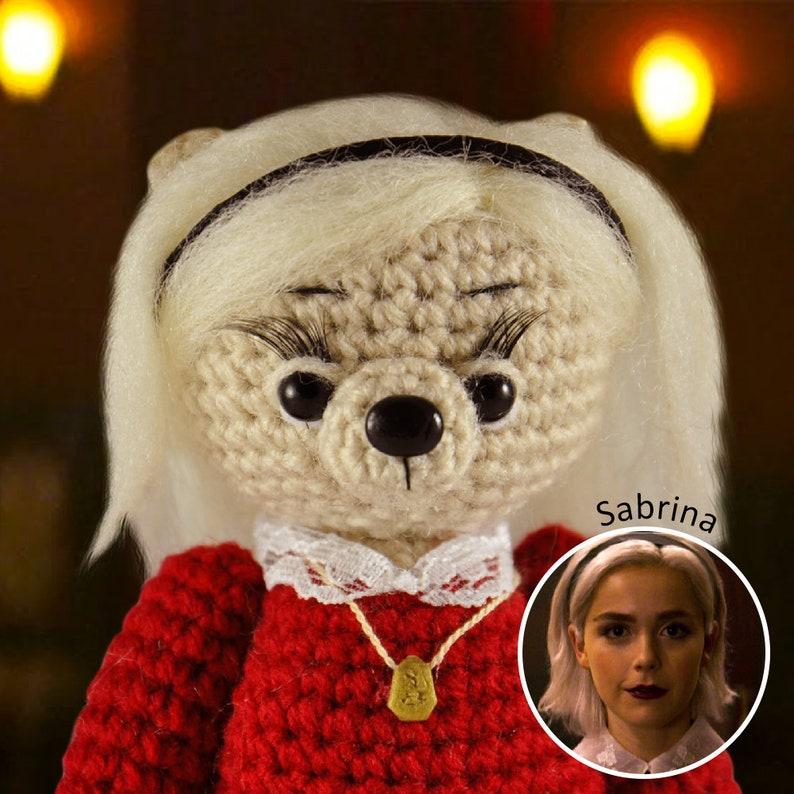 Sabrina Spellman Knitted bear crochet toy bear Knitted teddy Toy Crochet teddy bear Knitted teddy Knitted plush bear tv show witch
