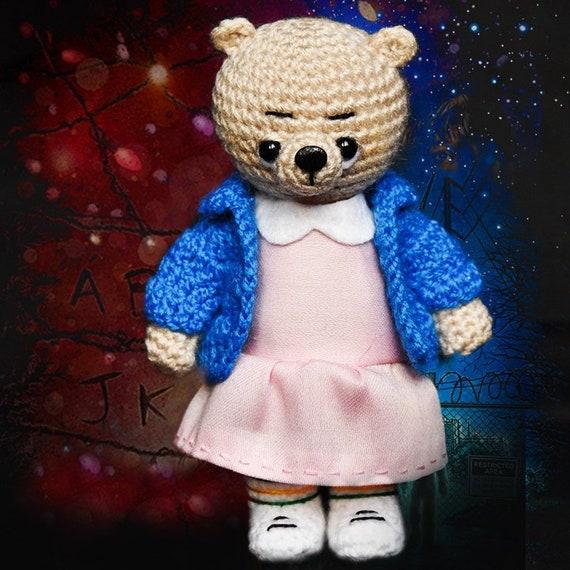 Eleven Stranger Things series crochet bear teddy bear Toy bear Crochet toy  for girl plush bear Knitted teddy bear Stranger Things tv series