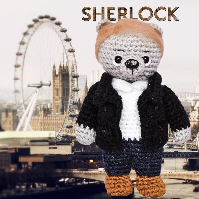 Watson toy bear Knitted teddy bear Crochet bear Knitted teddy Knitted Toy serial Watson Sherlock Knitted bear Sherlock Holmes Dr