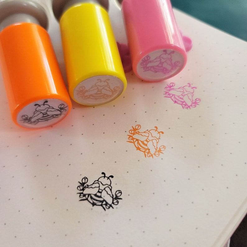 Bees & Flowers Self inking Stamp Set of all 3 Colors