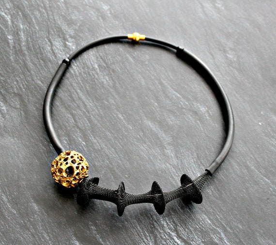 Bubble necklace Black necklace Gold necklace Vintage gold Nylon mesh jewelry Glass bubble bead Necklace Contemporary Jewelry