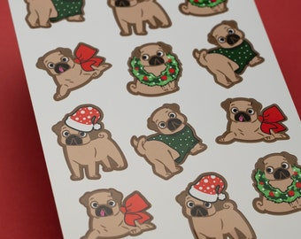 Christmas Pug Stickers for the Holidays!