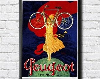Peugeot Vintage Bicycle Poster - Digital HQ Print - 4 Sizes