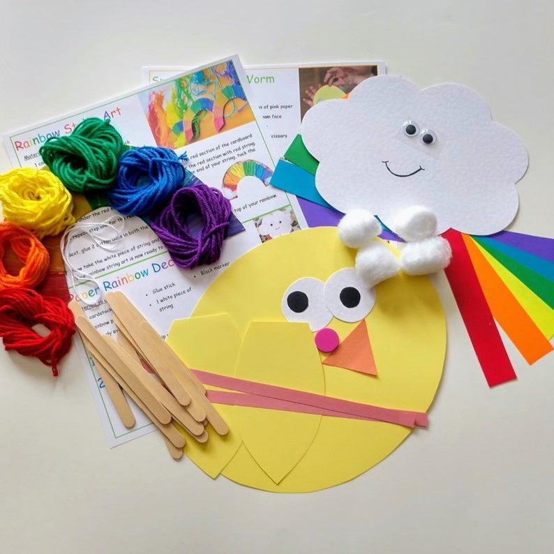 Rainbow Craft Kit Kids Craft Kits Busy Bag Paper Crafts Etsy