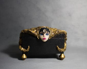 Wooden box, decorated box, box art doll OOAK wooden box decorated hand made