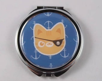 Pirate Cat Compact Mirror