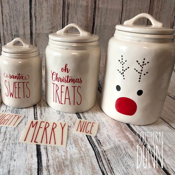 Rae Dunn Christmas.Rae Dunn Christmas Vinyl Decals Canister Decals Mug Decals Naughty Is The New Nice Christmas Treats Decal Sweets Decal Reindeer Decal