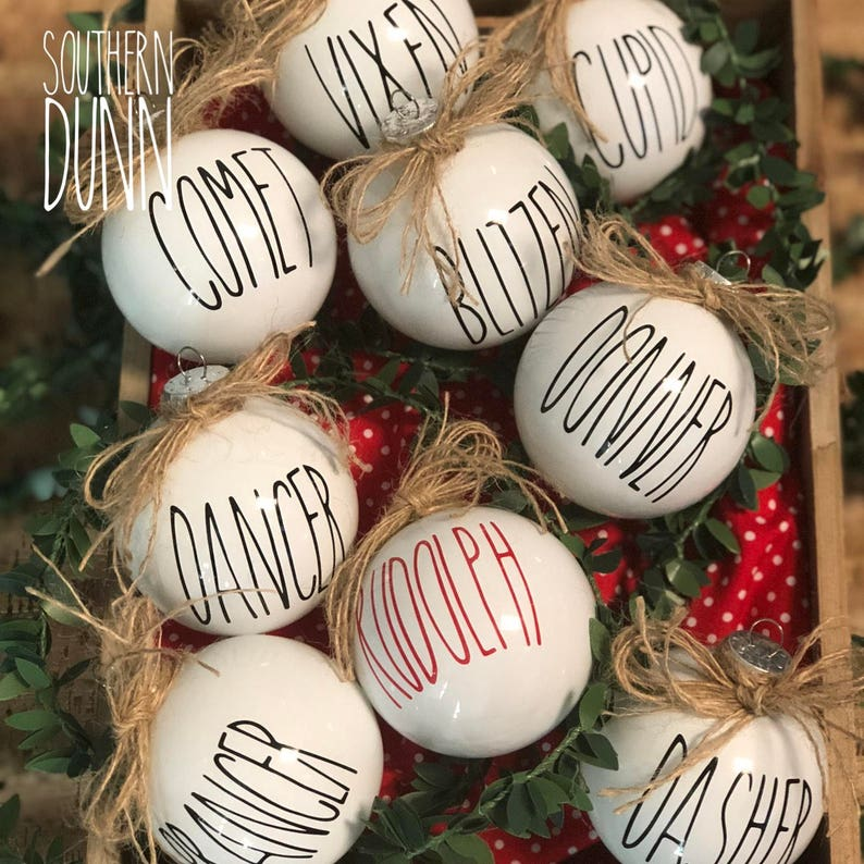 Rae Dunn Inspired Decals For Ornaments Decals Only Rae Dunn Christmas Ornament Decals Rae Dunn Inspired Decals Reindeer Decals Ornaments