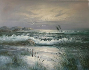 sasely wave oil painting on canvas / oil painting on canvas seascape ocean