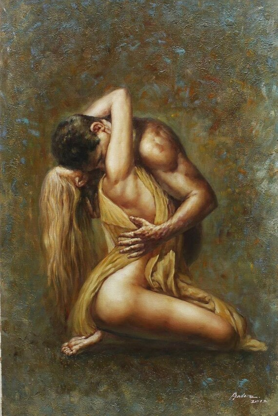 Oil painting nude lovers 7