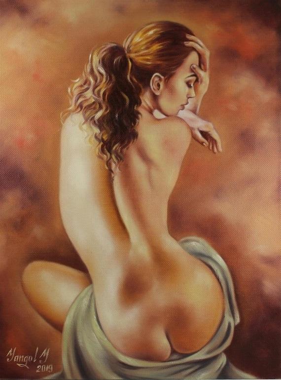 Portrait Femme Nue Integrale Tableau Peinture Huile Sur Toile Etsy