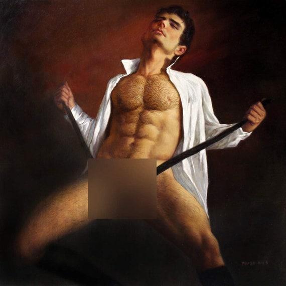 boy watercolor print nude male musing at door gay interest homme nu