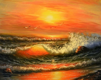 seascape waves original oil painting on canvas / oil painting on Canvas seascape wave