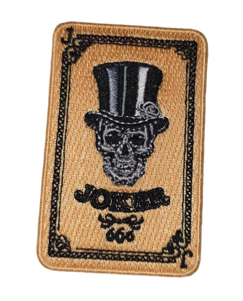 Joker Skull Playing Cards Embroidered Iron On Patch
