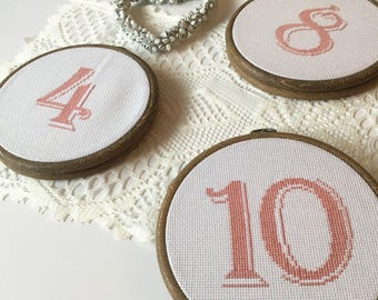 Wedding Cross Stitch Table Numbers | Set of TEN