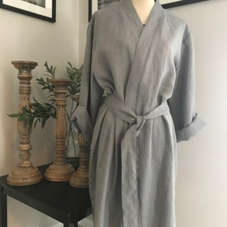 Grey Linen Robe, Pure Linen lounging Robe, PJ Robe