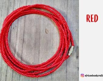 Waist Beads - African Waist Beads - African jewelry - Belly Chain - Body Jewelry - Belly Beads - Red Jewelry
